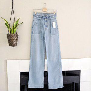 NEW Frame Ali High Rise Tie Waist Wide Leg Jean